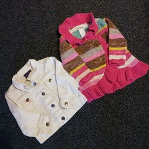 Jean jacket and sweater
